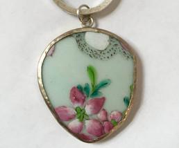 ming porcelain pink flower keychain   shard key... - $38.00