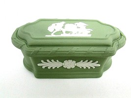 Wedgwood Jasperware Green Covered Trinket Box  Unique Shape  VGC Made in Eng. - $49.49