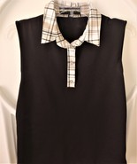 Stylish Golf/Casual Black Sleeveless Collar Top with Swarovski Buttons - $29.95