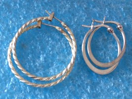 2 STERLING SILVER HOOP EARRINGS 925  IBBTH LOT - $26.34