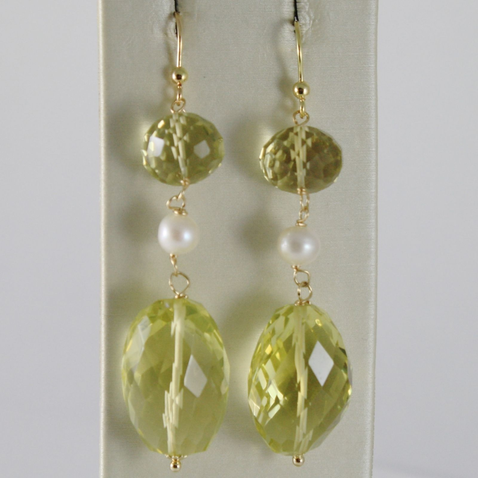 SOLID 18K YELLOW GOLD PENDANT EARRINGS WITH CUSHION LEMON QUARTZ AND PEARLS