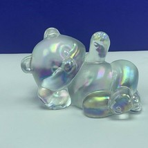 Fenton glass teddy bear figurine birthday sculpture opalescent irredesce... - $48.17