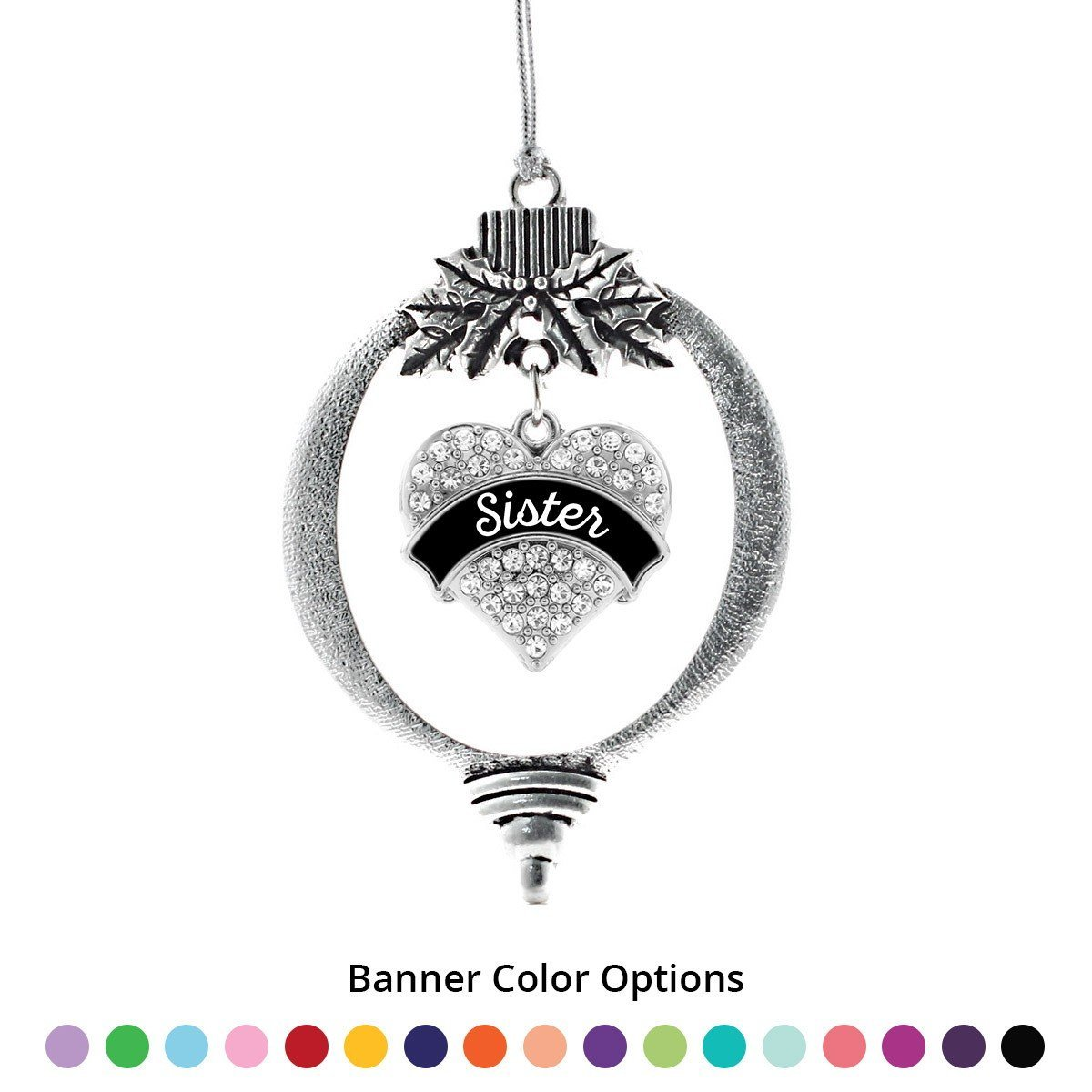 Primary image for Inspired Silver Sister Pave Heart Holiday Ornament- Select Your Banner!