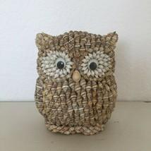 Vintage Handcrafted Sea Shell Folk Art Sculpture Owl Statue Figurine Bea... - $26.99