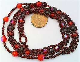 Red Garnet Beaded Daisy Chain Necklace - $16.99