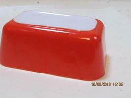 pyrex Friendship Pattern Fridge medium size red orange in color no lid - $19.80