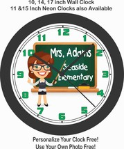 SCHOOL TEACHER WALL CLOCK-PERSONALIZED WITH NAME AND SCHOOL NAME AT NO C... - $28.70+