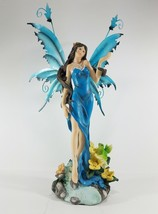 Welcoming Forest Fairy with Blue Metal Wings Collectible Figurine Statue... - $44.85