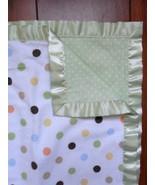 JUST BORN Baby Blanket green satin polka dot security Blanket lovey Brow... - $29.35
