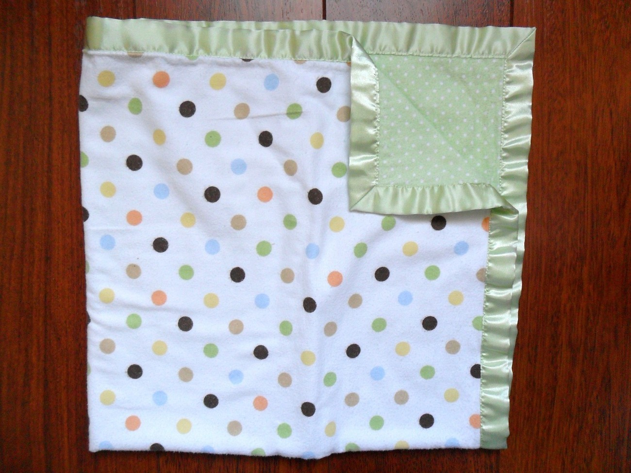 JUST BORN Baby Blanket green satin polka dot security Blanket lovey Brown orange