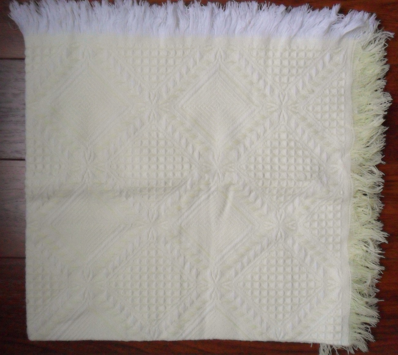 "Vintage Yellow White Baby Knit Blanket Made in Japan Acrylic Fringed 40"" x 40"""