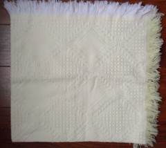 "Vintage Yellow White Baby Knit Blanket Made in Japan Acrylic Fringed 40""... - $45.59"