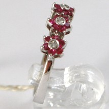 White Gold Ring 750 18k, Trilogy Rosetta, Flowers with Rubies and Diamonds image 2