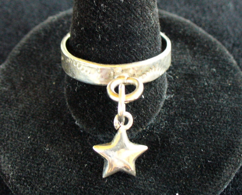 Sterling Silver Band with Star Charm Ring