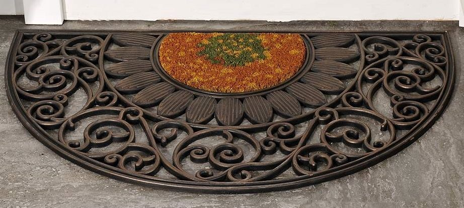 "Circular Rubber & Coir Doormat w Ornate Cut-Out Detailing 30"" x 18"" Golden Brown"