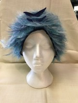 Vintage Jack McConnell Blue Feathers And Velvet Bows Hat  - $76.44