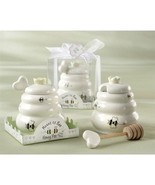 Set of 12 Ceramic Honey Pot w/ Wooden Dipper Wedding Favors Bridal Showe... - $40.10