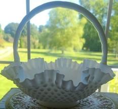 Vintage Fenton ~Handled Basked Bowl ~ White Milk Glass ~ Hobnail ~ Ruffl... - $99.00