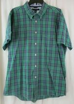 Tommy Hilfiger Button Front Shirt Mens XL Short Sleeve Plaid Green - $19.79