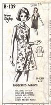 Sew Easy Size 14 Misses Dress with Round Neck B-139 - $5.65