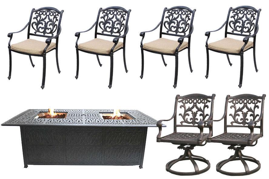 Fire Pit Propane Table 7 Piece Set Cast Aluminum Outdoor Patio Furniture
