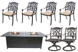 Fire Pit Propane Table 7 Piece Set Cast Aluminum Outdoor Patio Furniture   image 1