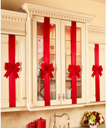 Cabinet Bows Set of 4 Red Polyester Great Christmas Decoration Idea - $39.95