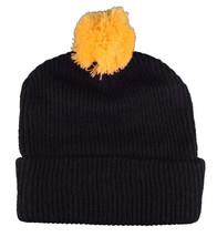 T.I.T.S. Brand Mens Black Yellow Sports Script Pom Beanie Skull Cap Winter Hat image 2