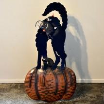 Metal Black Cat on Pumpkin Light Up LED Halloween Decor Tabletop or Wall Decor image 2