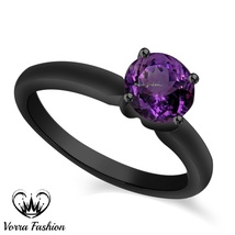 Vintage Style Purple Amethyst 925 Silver Black Gold Over Solitaire Wedding Ring - $65.99