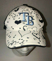Tampa Bay Rays Womens Adjustable Hat White And Blue With Hearts - $9.90