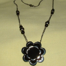 Black and Silver Flower Pendant Necklace with Black/Silver Bead Accents - $14.00