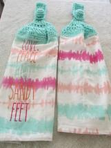Crocheted Top Lightweight Linen Hanging Kitchen Towels Love , Peace a... - $9.00