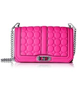NWT Rebecca Minkoff Large Love Circle Quilted Neon Pink Leather Crossbod... - $134.55
