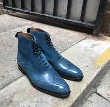 Handmade Men's Blue Leather Suede Wing Tip High Ankle Lace Up Dress/Formal Boots image 1