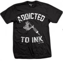 Cartel Encre Addict à Machine Tatouage Frippes Gothique Punk Hommes T-Shirt - $26.15