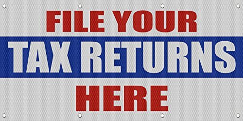 File Your Tax Returns Here Promotion Business MESH Windproof Fence Banner Sign 3