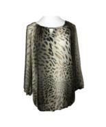 Zac & Rachel Blouse Top XL Animal Print Gathered Hem 3/4 Sleeve Brown Wo... - $22.14