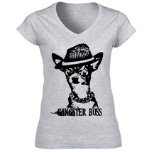 Gangster Boss Black Chihuahua Puppy P - New Cotton Grey Lady Tshirt - $24.79