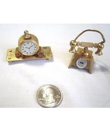 Vintage Miniature Brass Plated  Desk Clock and  Rotary Telephone - $19.99
