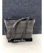 AUTHENTIC CHANEL Gray Quilted Calfskin Medium Gabrielle Hobo Bag  - $3,999.99