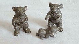 "VINTAGESET OF 3 BEARS MINIATURE PEWTER FIGURINE, 1-1.25"", MAMA PAPA BABY... - $17.04"