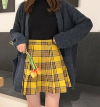 Women Girl YELLOW Pleated Plaid Skirt Plus Size School Style Pleated Plaid Skirt image 3