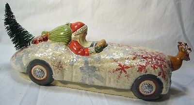 Vaillancourt Folk Art Santa on Jaquar Reindeer Signed