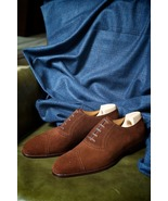 Decent Brown Wingtip  Suede Hand Stitched Lace Up  Shoes For Adults - $158.99