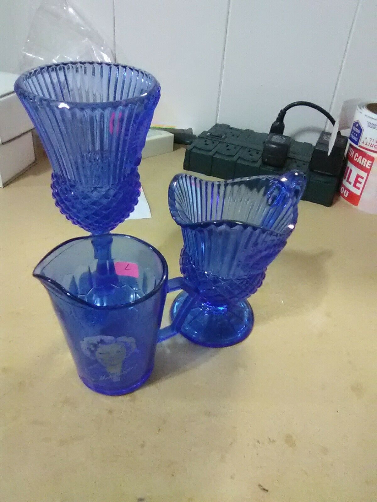 Primary image for 3 Pieces of Cobalt Blue Glass - 2 Avon Containers and One Shirley Temple Pitcher