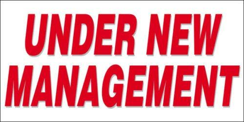 GHP 2'x4' Under New Management Straight Cut Edges Vinyl Banner Sign w Metal Grom