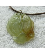 Vintage China Brown Green Jade Two Side Hand Carved 2 Koi Fish Pendant N... - $193.99