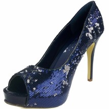 "High Heel Blue Open Toe Glitter Pump 4"" Heel El... - $48.95"