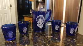 Shirley Temple Pitcher and Shot Glasses Vintage Cobalt Blue Shirley Temp... - $46.60